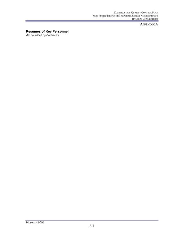 CONSTRUCTION QUALITY CONTROL PLAN NON-PUBLIC PROPERTIES, NEWHALL STREET NEIGHBORHOOD HAMDEN, CONNECTICUT APPENDIX A Februa...