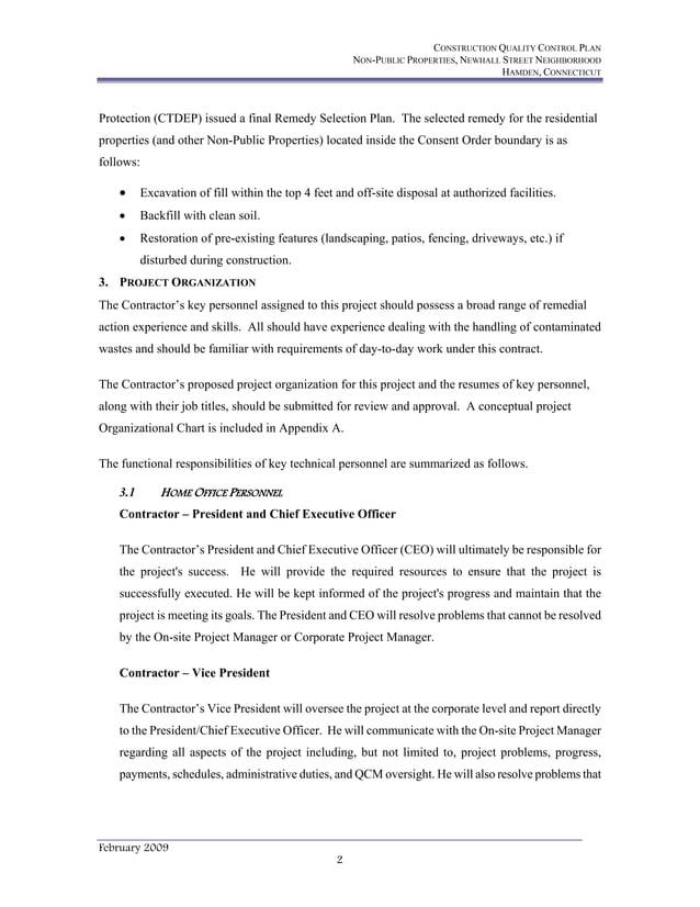 CONSTRUCTION QUALITY CONTROL PLAN NON-PUBLIC PROPERTIES, NEWHALL STREET NEIGHBORHOOD HAMDEN, CONNECTICUT February 2009 2 P...
