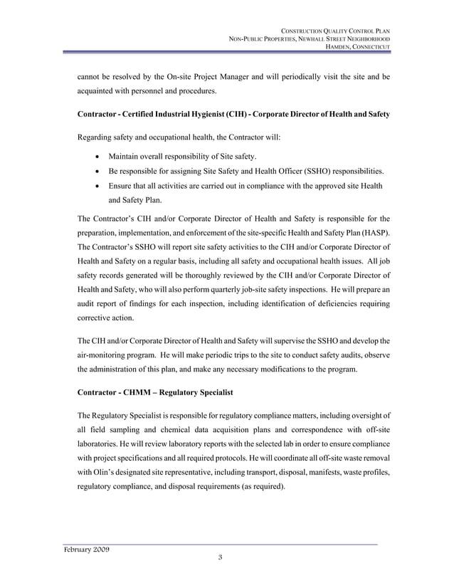 CONSTRUCTION QUALITY CONTROL PLAN NON-PUBLIC PROPERTIES, NEWHALL STREET NEIGHBORHOOD HAMDEN, CONNECTICUT February 2009 3 c...