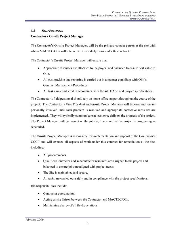 CONSTRUCTION QUALITY CONTROL PLAN NON-PUBLIC PROPERTIES, NEWHALL STREET NEIGHBORHOOD HAMDEN, CONNECTICUT February 2009 4 3...