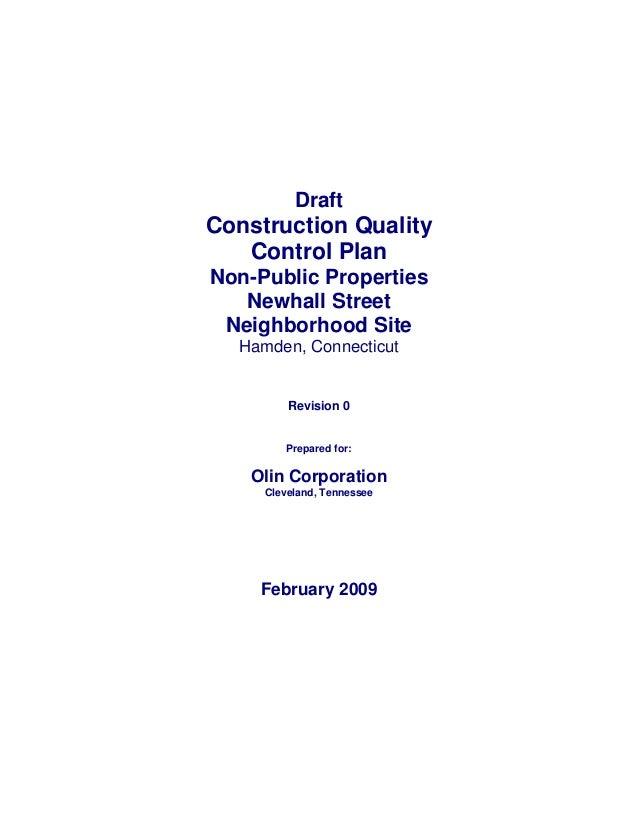 Draft Construction Quality Control Plan Non-Public Properties Newhall Street Neighborhood Site Hamden, Connecticut Revisio...