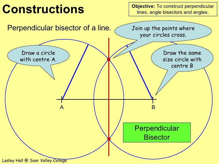 Perpendicular bisector of a line. Perpendicular Bisector Join up the points where your circles cross. Draw the same size c...