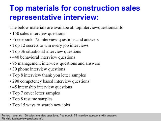 Construction sales representative interview questions and ...