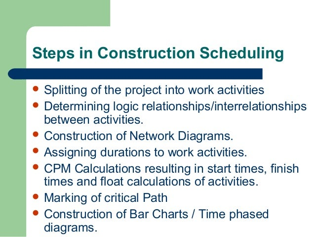 Construction scheduling & Cost control