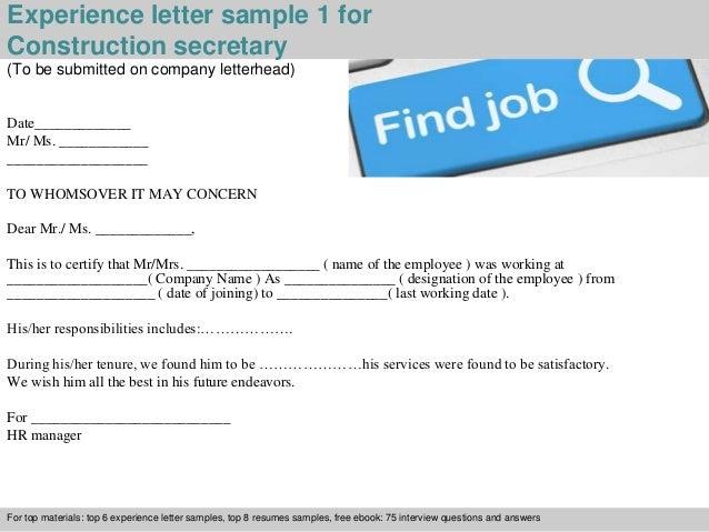 Construction secretary experience letter experience letter sample 1 for construction secretary yadclub Choice Image
