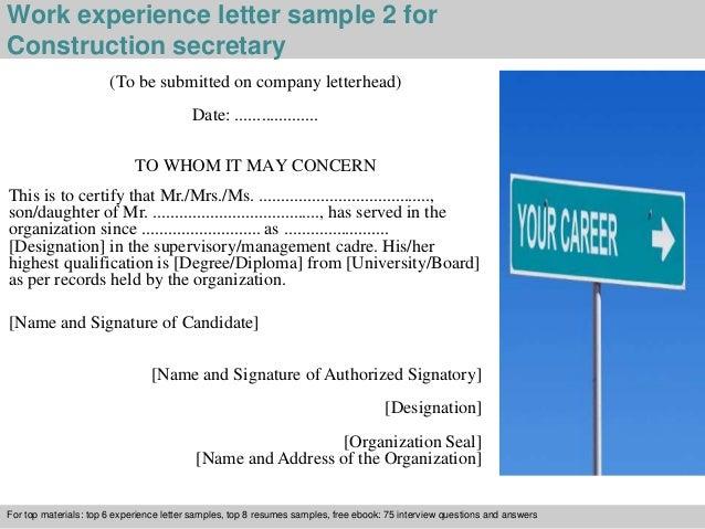 Construction secretary experience letter 3 work experience letter sample 2 for construction secretary yadclub Choice Image