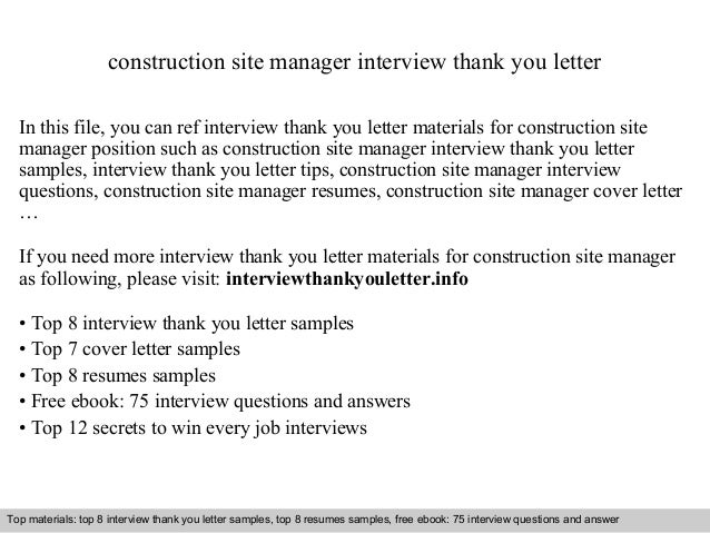 Construction site manager construction site manager interview thank you letter in this file you can ref interview thank expocarfo