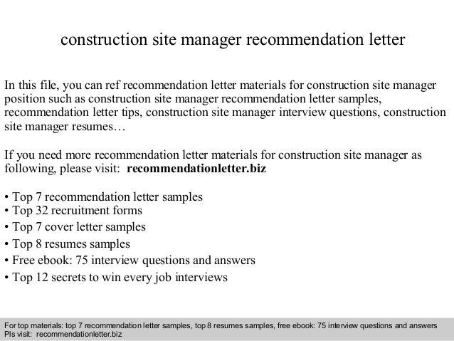 Construction site manager recommendation letter construction site manager recommendation letter in this file you can ref recommendation letter materials for expocarfo Choice Image