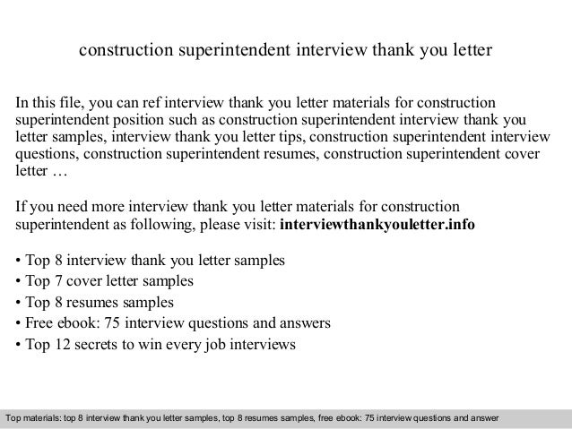 construction superintendent interview thank you letter in this file you can ref interview thank you - Construction Superintendent Cover Letter