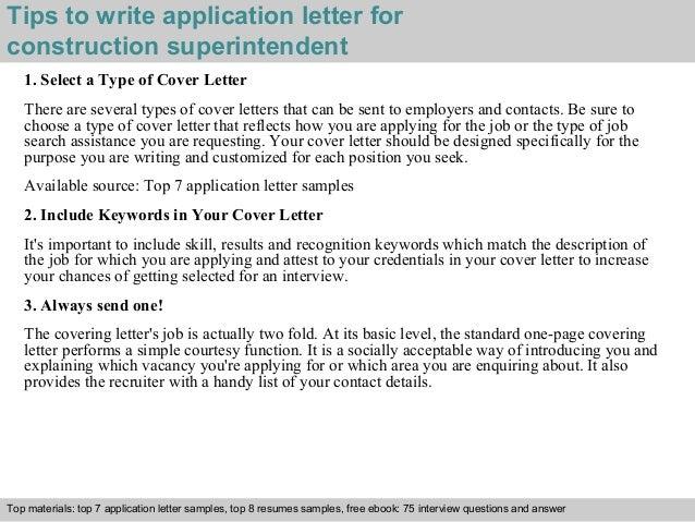 Construction Superintendent Application Letter