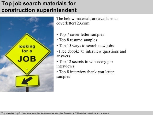 5 top job search materials for construction superintendent - Resume Cover Letter Samples Construction Superintendent
