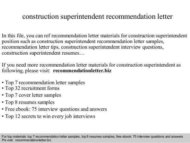 Construction superintendent recommendation letter