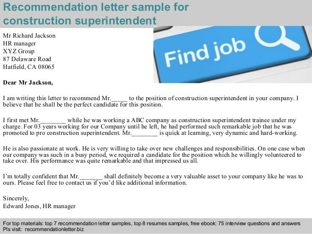 recommendation letter sample for construction superintendent