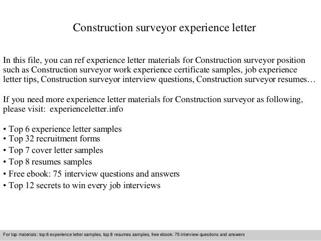 Construction Surveyor Experience Letter