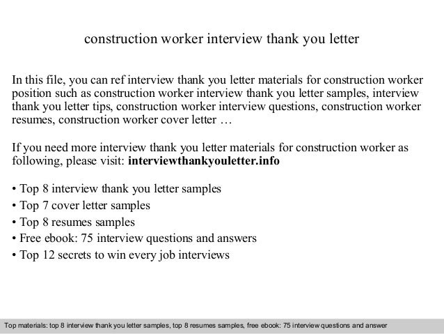 Construction Worker Interview Thank You Letter In This File, You Can Ref  Interview Thank You ...