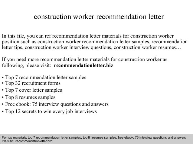 Construction Worker Recommendation Letter In This File, You Can Ref  Recommendation Letter Materials For Construction ...  Construction Worker Job Description