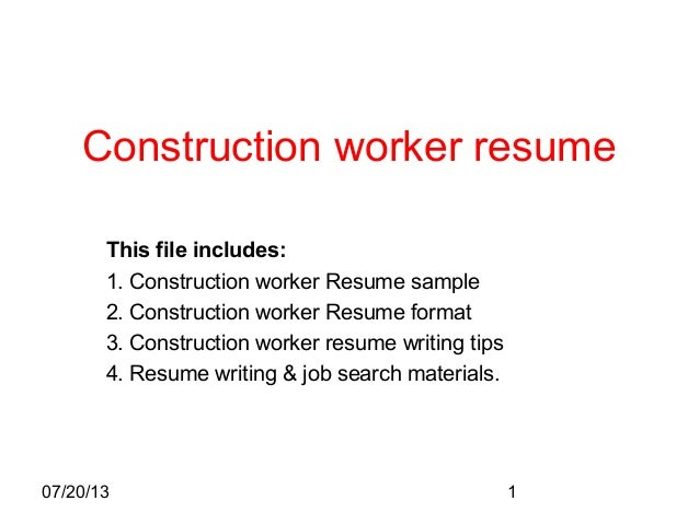 072013 1 construction worker resume this file includes 1 construction - Sample Resume Construction Worker