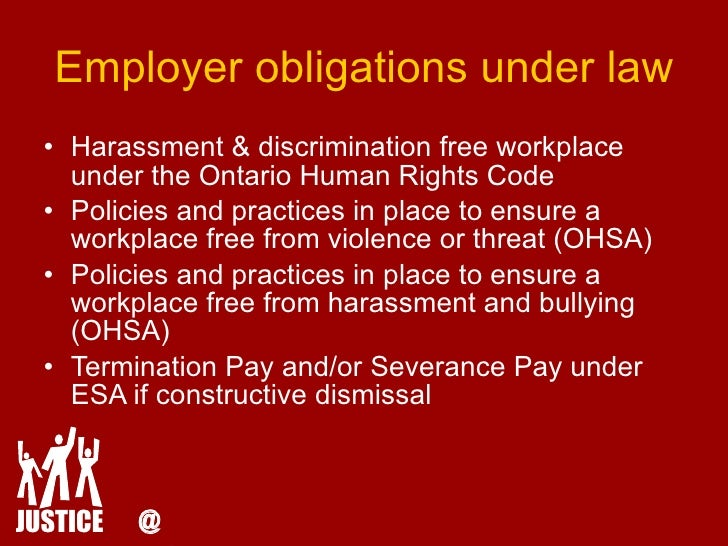 constructive discrimination Case law and out-of-court settlements note: bullying is behind all forms of harassment, discrimination, prejudice, abuse, conflict and violence when the bullying has a focus (eg race or.