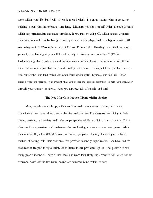 Constructive Living By David K Reynolds Discussion Essay 6