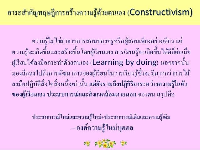ทฤษฎีการสร้างความรู้ด้วยตนเอง(Constructivism) Slide 3