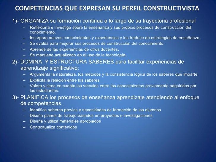 COMPETENCIAS QUE EXPRESAN SU PERFIL CONSTRUCTIVISTA  <ul><li>1)- ORGANIZA su formación continua a lo largo de su trayector...