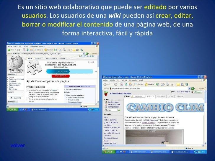 Es un sitio web colaborativo que puede ser  editado  por varios  usuarios . Los usuarios de una  wiki  pueden así  crear, ...