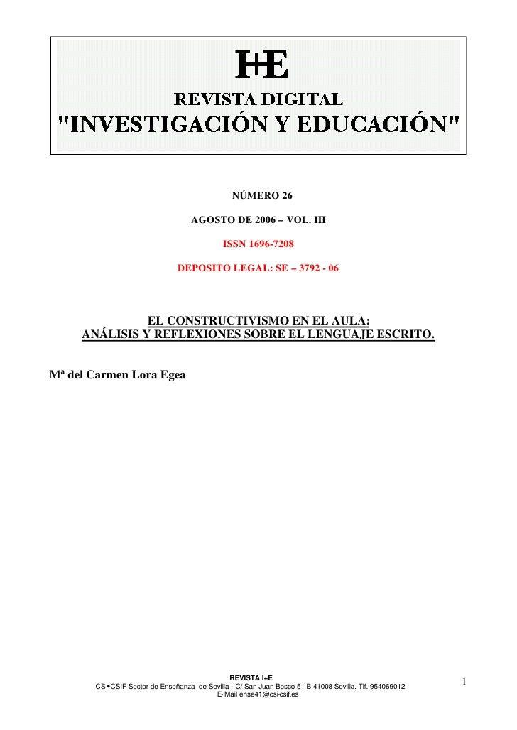 NÚMERO 26                                    AGOSTO DE 2006 – VOL. III                                             ISSN 16...