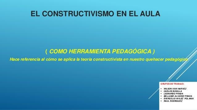 EL CONSTRUCTIVISMO EN EL AULA ( COMO HERRAMIENTA PEDAGÓGICA ) Hace referencia al cómo se aplica la teoría constructivista ...