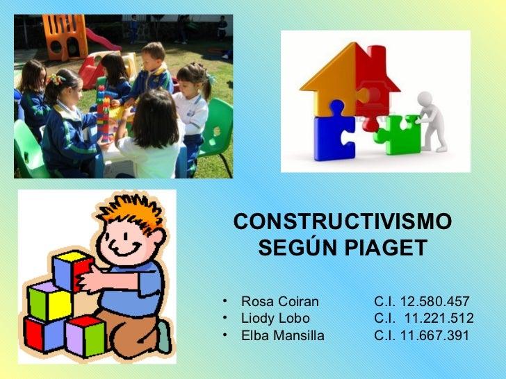 CONSTRUCTIVISMO      SEGÚN PIAGET•   Rosa Coiran     C.I. 12.580.457•   Liody Lobo      C.I. 11.221.512•   Elba Mansilla  ...