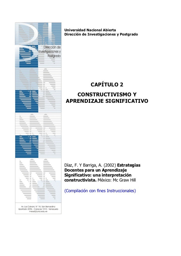 Universidad Nacional AbiertaDirección de Investigaciones y Postgrado              CAPÍTULO 2   CONSTRUCTIVISMO YAPRENDIZAJ...