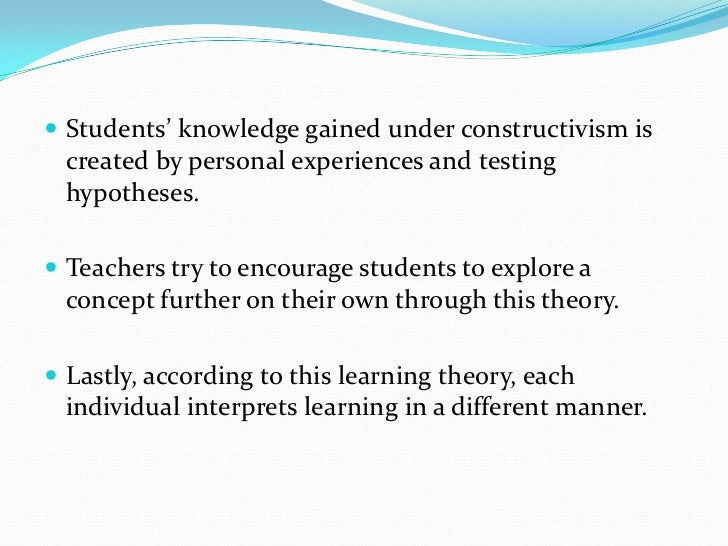 concept to classroom constructivism as a paradigm for teaching and learning essay Constructivist teaching methods from wikipedia, the free encyclopedia jump to: navigation, search constructivist teaching is based on constructivist learning theory.