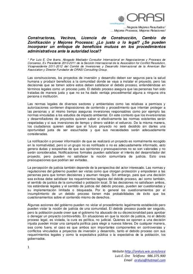 … Negocie Mejores Resultados! … Mejores Procesos, Mejores Relaciones! 1 Website http://oreluis.wix.com/orasi Luis E. Ore T...