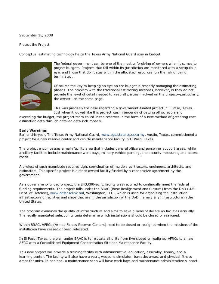 September 15, 2008Protect the ProjectConceptual estimating technology helps the Texas Army National Guard stay in budget. ...