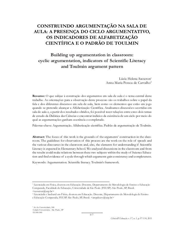 CONSTRUINDO ARGUMENTAÇÃO NA SALA DE    AULA: A PRESENÇA DO CICLO ARGUMENTATIVO,        OS INDICADORES DE ALFABETIZAÇÃO    ...