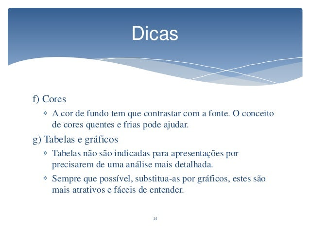Tamanho da fonte para apresentação de slides
