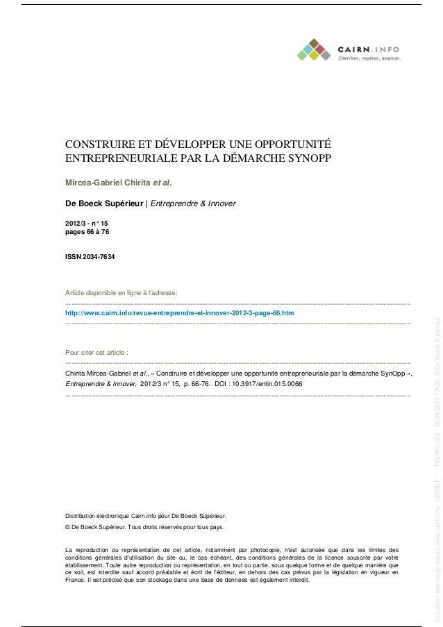 CONSTRUIRE ET DÉVELOPPER UNE OPPORTUNITÉ ENTREPRENEURIALE PAR LA DÉMARCHE SYNOPP Mircea-Gabriel Chirita et al. De Boeck Su...