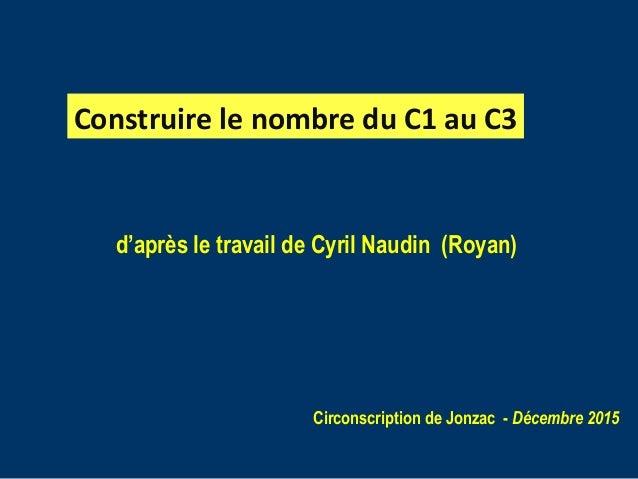 d'après le travail de Cyril Naudin (Royan) Circonscription de Jonzac - Décembre 2015 Construire le nombre du C1 au C3