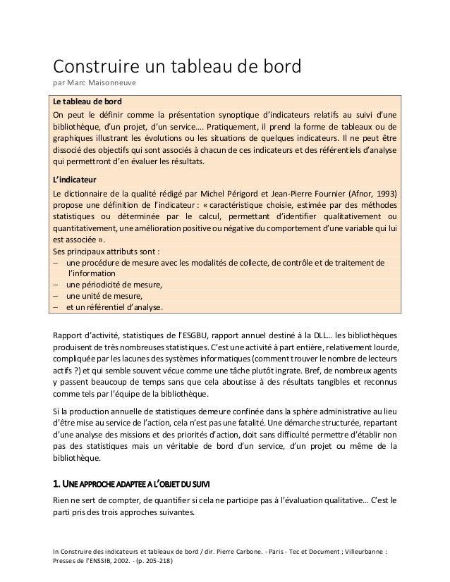 In Construire des indicateurs et tableaux de bord / dir. Pierre Carbone. - Paris - Tec et Document ; Villeurbanne : Presse...