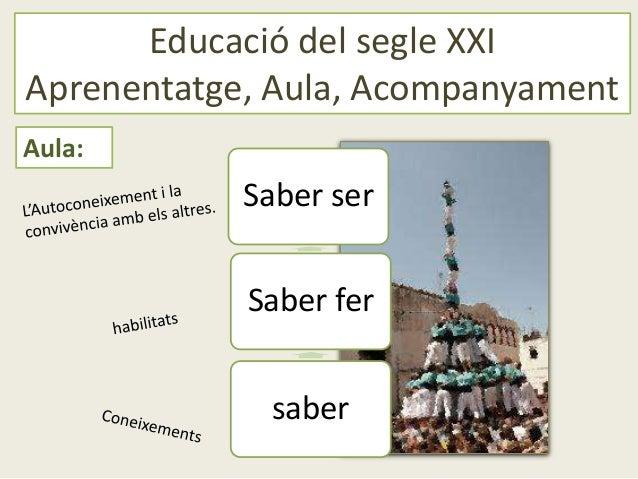 Educació del segle XXIAprenentatge, Aula, AcompanyamentAula:            Saber ser            Saber fer             saber