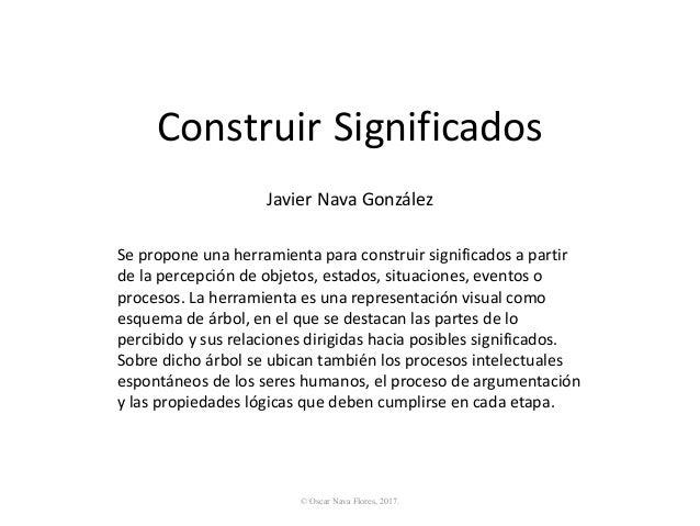 Construir Significados Seproponeunaherramientaparaconstruirsignificadosapartir delapercepcióndeobjetos,estad...