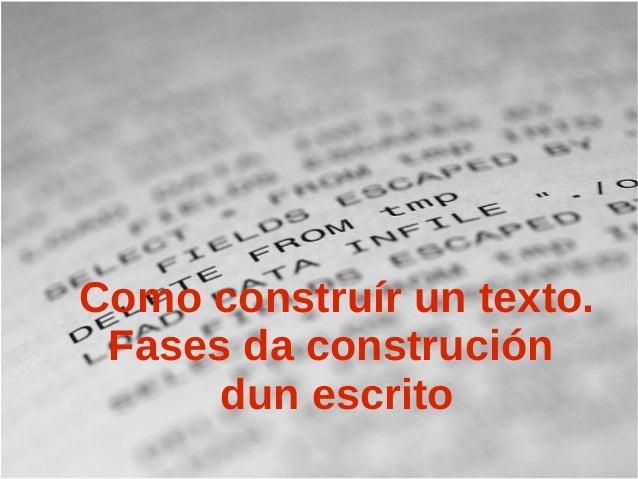 Como construír un texto.  Fases da construción  dun escrito