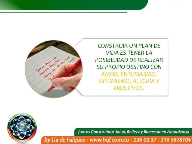 CONSTRUIR UN PLAN DE VIDA ES TENER LA POSIBILIDAD DE REALIZAR SU PROPIO DESTINO CON AMOR, ENTUSIASMO, OPTIMISMO, ALEGRÍA Y...