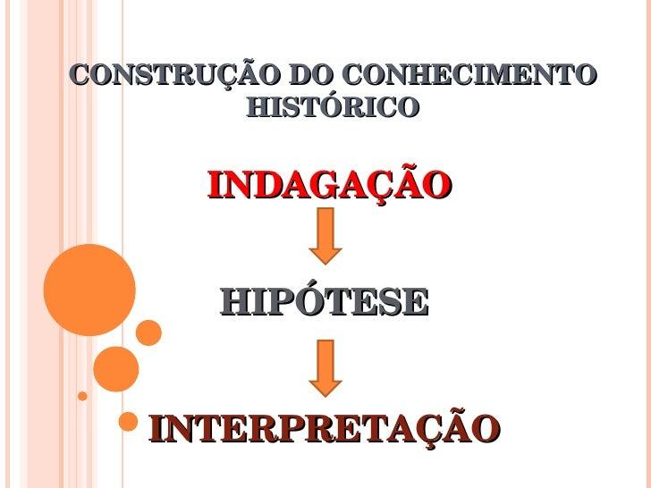 CONSTRUÇÃO DO CONHECIMENTO HISTÓRICO INDAGAÇÃO HIPÓTESE INTERPRETAÇÃO