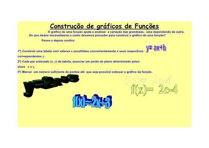 Construção de gráficos de Funções                    O gráfico de uma função ajuda a analisar a variação das grandezas, um...