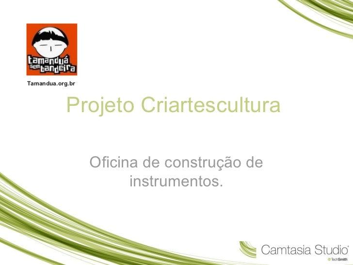 Tamandua.org.br            Projeto Criartescultura                  Oficina de construção de                        instru...