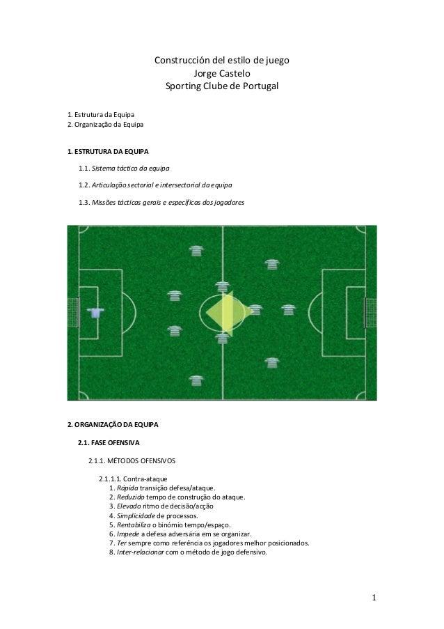 Construcción  del  estilo  de  juego   Jorge  Castelo   Sporting  Clube  de  Portugal         1....