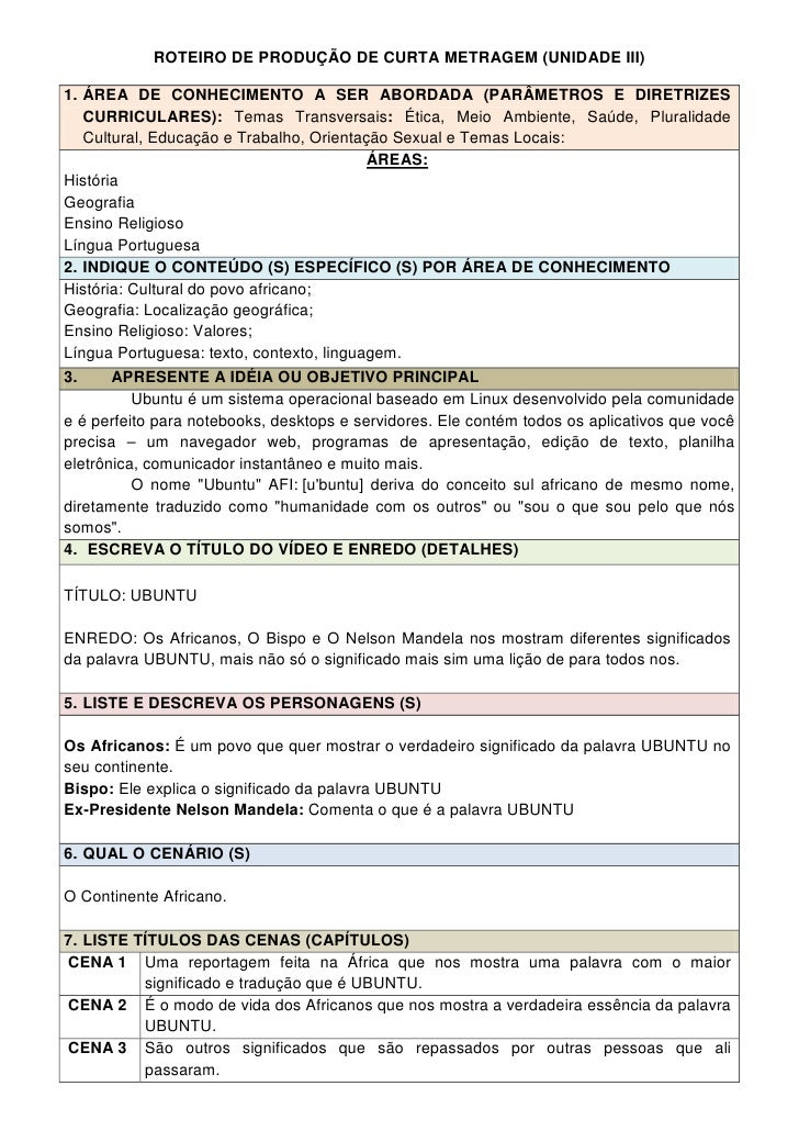 ROTEIRO DE PRODUÇÃO DE CURTA METRAGEM (UNIDADE III)1. ÁREA DE CONHECIMENTO A SER ABORDADA (PARÂMETROS E DIRETRIZES   CURRI...