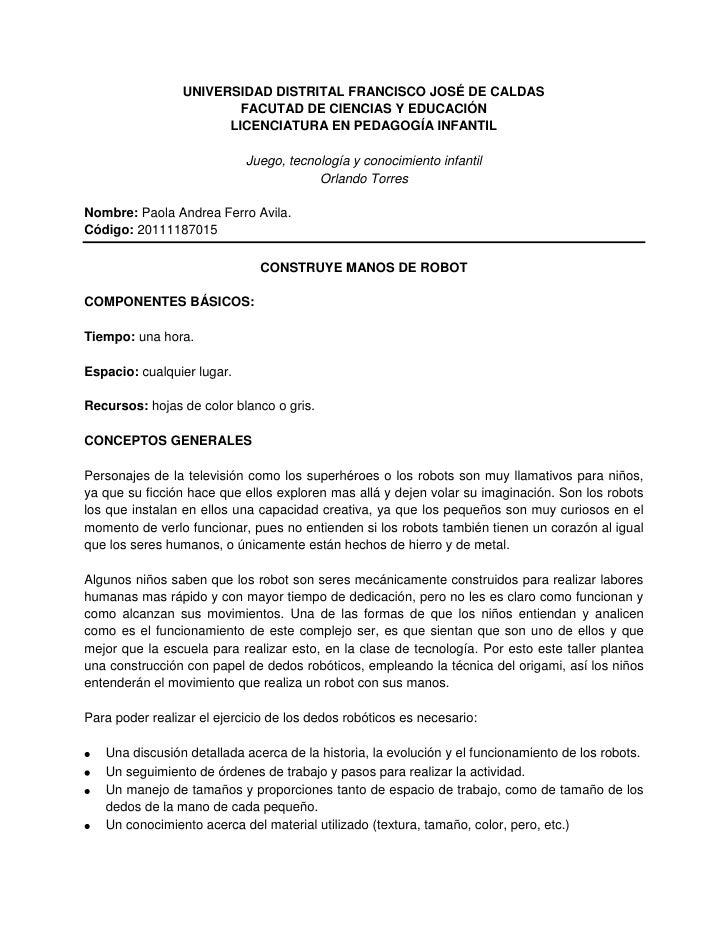 UNIVERSIDAD DISTRITAL FRANCISCO JOSÉ DE CALDAS                         FACUTAD DE CIENCIAS Y EDUCACIÓN                    ...
