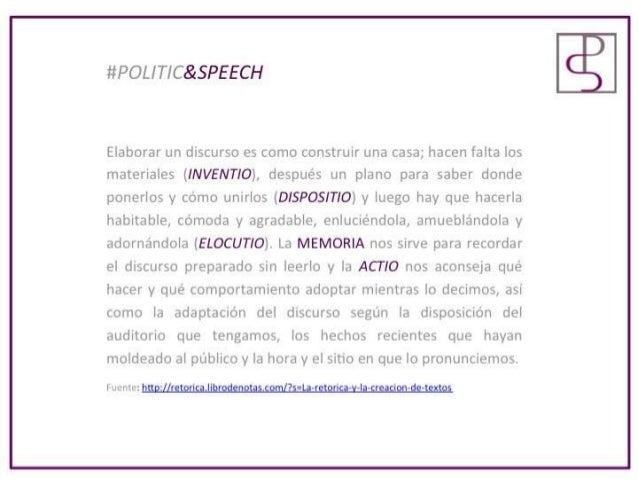 #POLITIC&SPEECH  Elaborar un discurso es como construir una casa;  hacen falta los materiales (INVENTIO),  después un plan...
