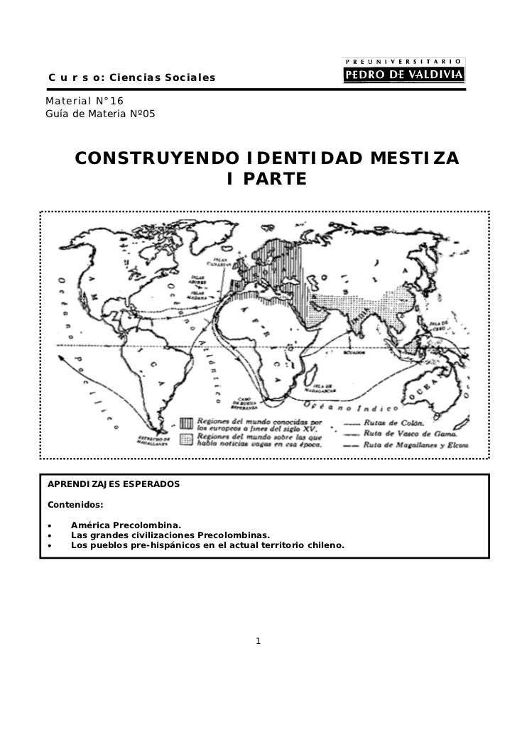 C u r s o: Ciencias SocialesMaterial N°16Guía de Materia Nº05     CONSTRUYENDO IDENTIDAD MESTIZA                I PARTEAPR...